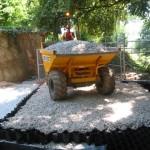 Installation of load bearing no-dig driveway